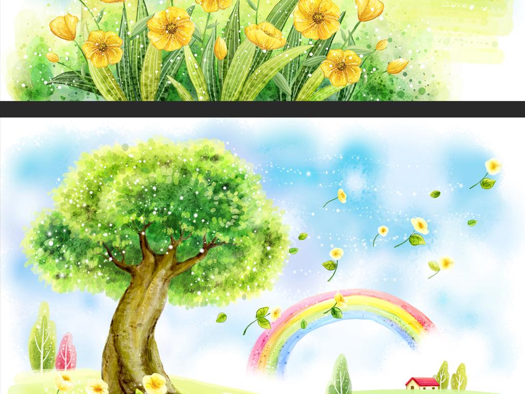 春天风景蝴蝶风景插画手绘风景插画韩式