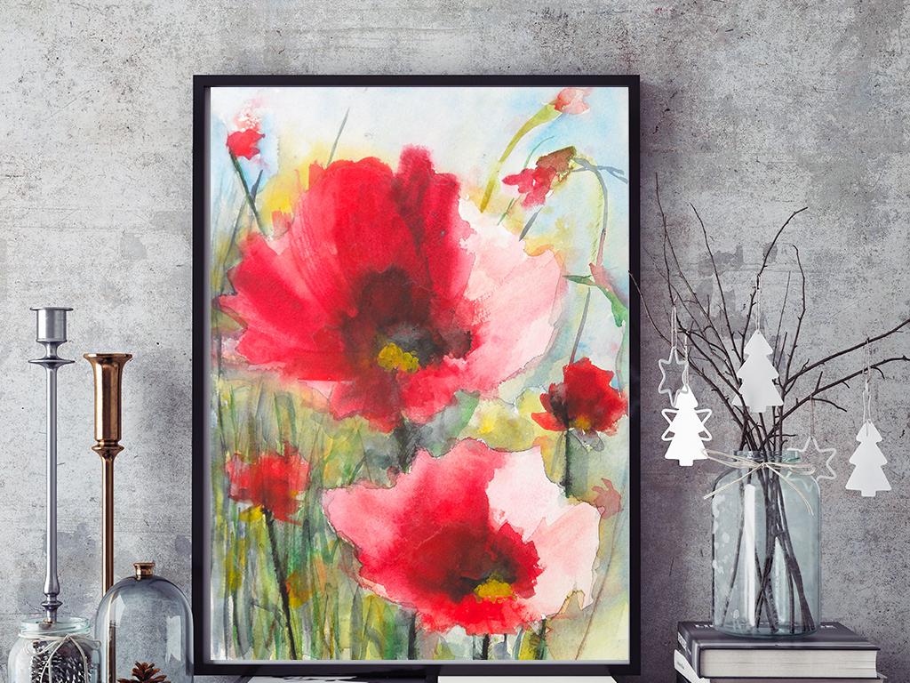 手绘水彩红花装饰画