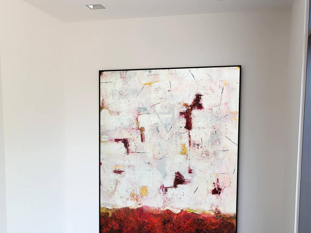 红色色块涂鸦抽象装饰画