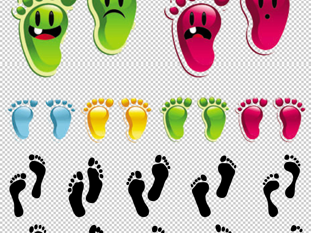 卡通矢量手绘人物脚印鞋印免扣png图片