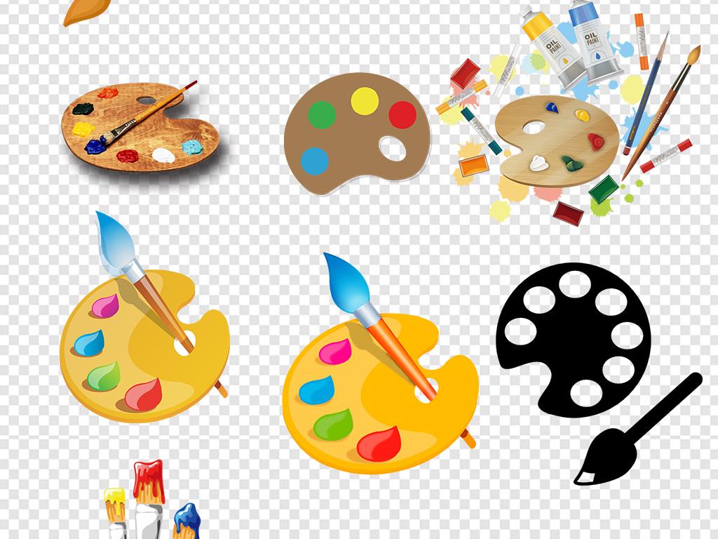 卡通调色盘颜料盘美术学习用品素材