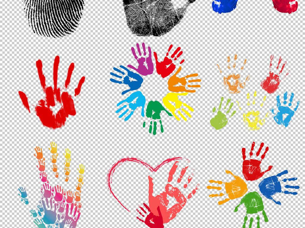 彩色手绘手印手绘图片图片png手印指纹阳光手掌创意手掌手掌创意矢量