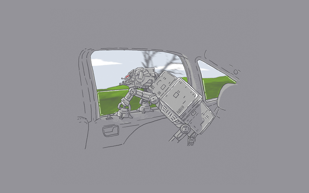 简约手绘漫画卡通极简机器人挂画