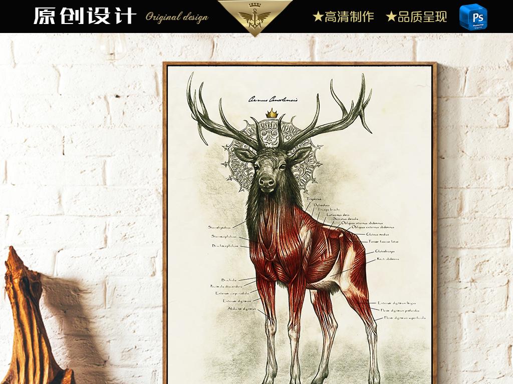 复古手绘麋鹿北欧油画