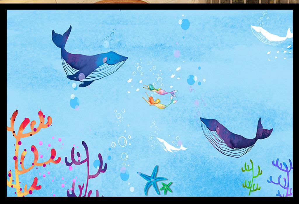 背景墙|装饰画 电视背景墙 手绘电视背景墙 > 手绘海豚美人鱼背景墙