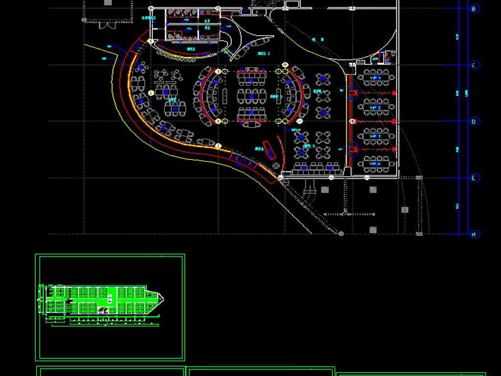 西餐厅及休闲会所CAD平面图