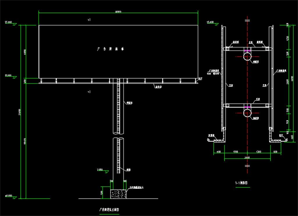 广告牌钢结构cad设计图