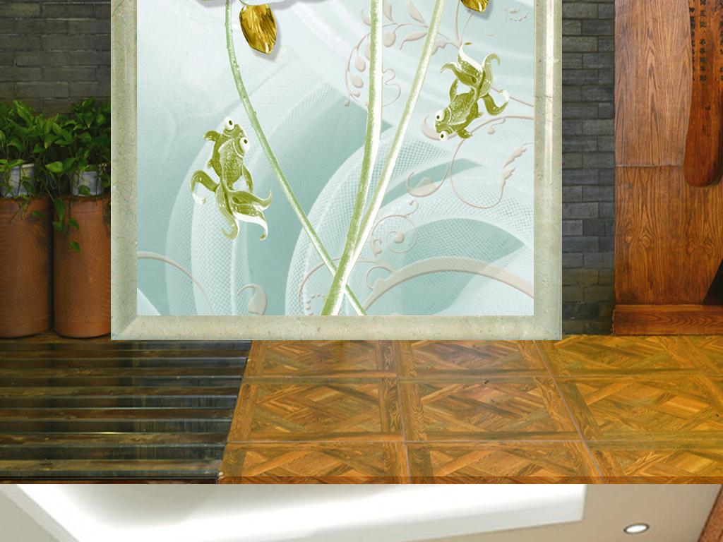 新中式浮雕花朵玄关背景墙装饰画图片