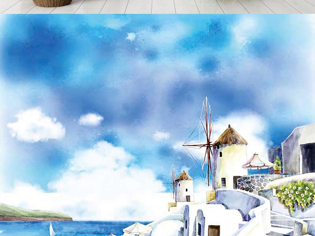 欧式手绘现代海滩海景房大海帆船装饰背景墙