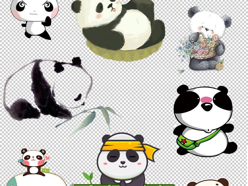 手绘可爱小熊猫免扣png图片集合