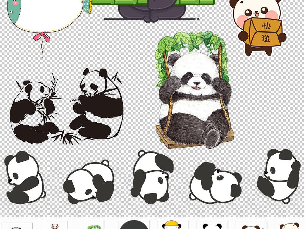 手绘可爱小熊猫免扣png图片集合图片下载png素材-动物
