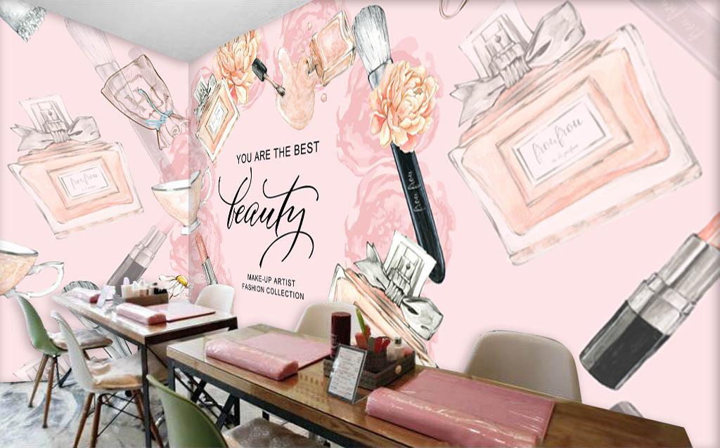 欧美手绘化妆品彩妆店背景墙