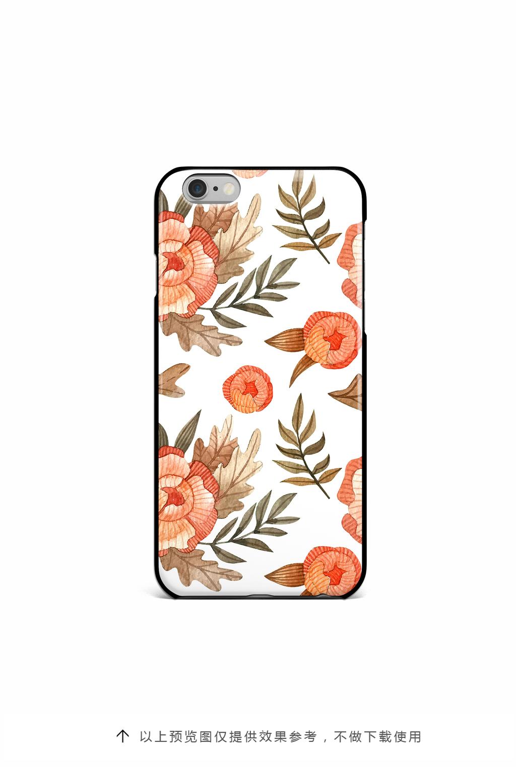 手绘水彩植物花卉手机壳图案设计