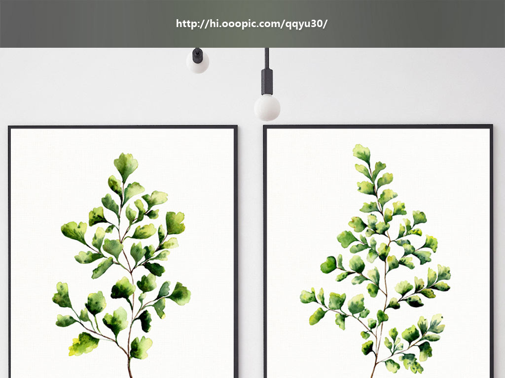 北欧风格植物绿叶无框画