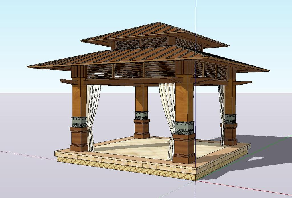 欧式亭子su模型设计图片下载skp素材 其他模型图片