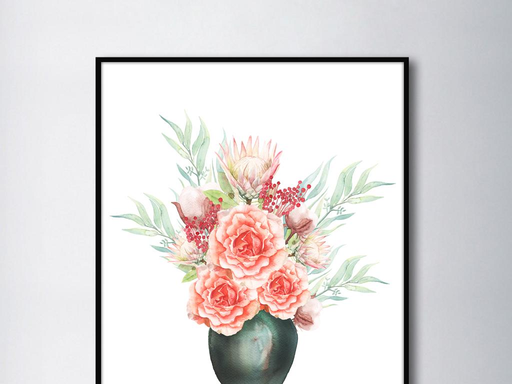 简约手绘水彩花朵花瓶北欧风格装饰画无框画