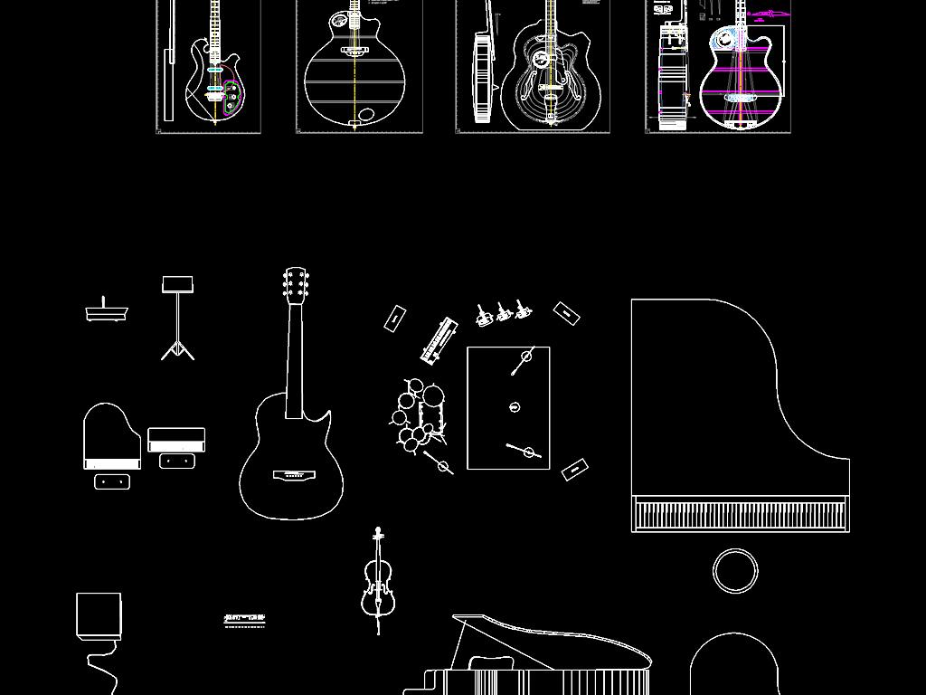 建筑设计 cad图纸  其他图纸 > 吉他音乐器械器材平面素材cad  版权