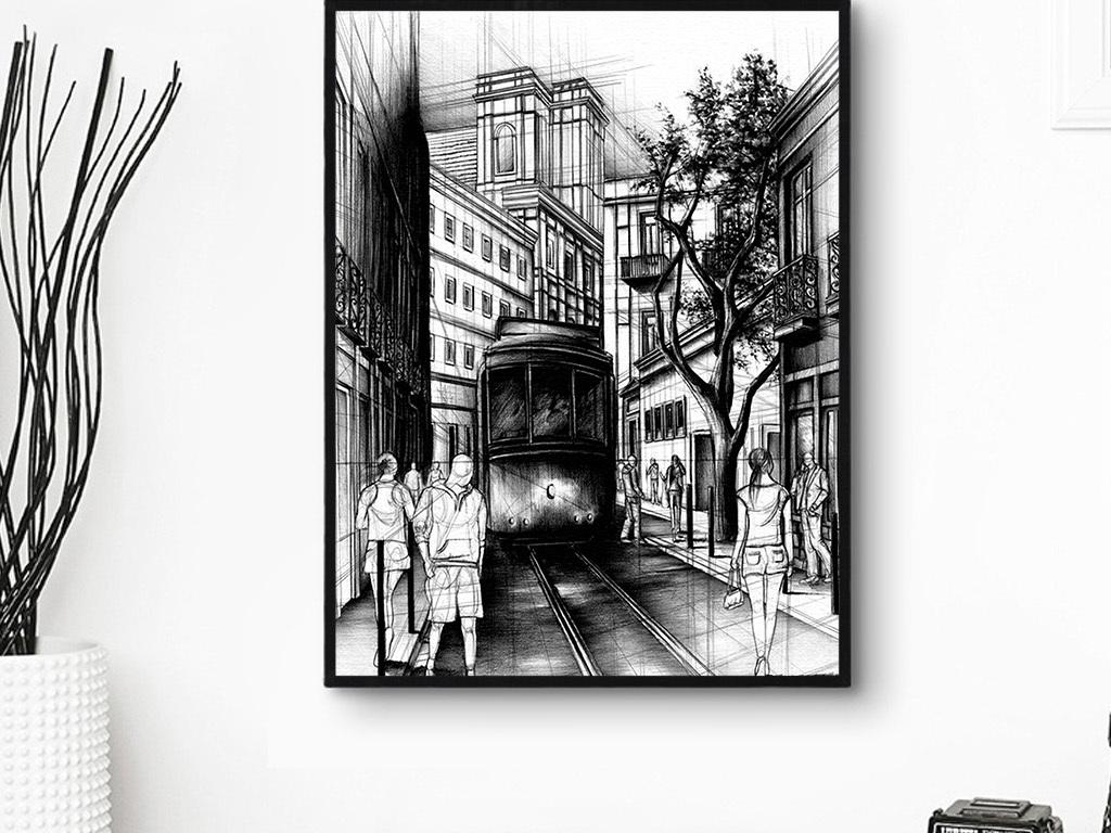 简约手绘黑白建筑装饰画