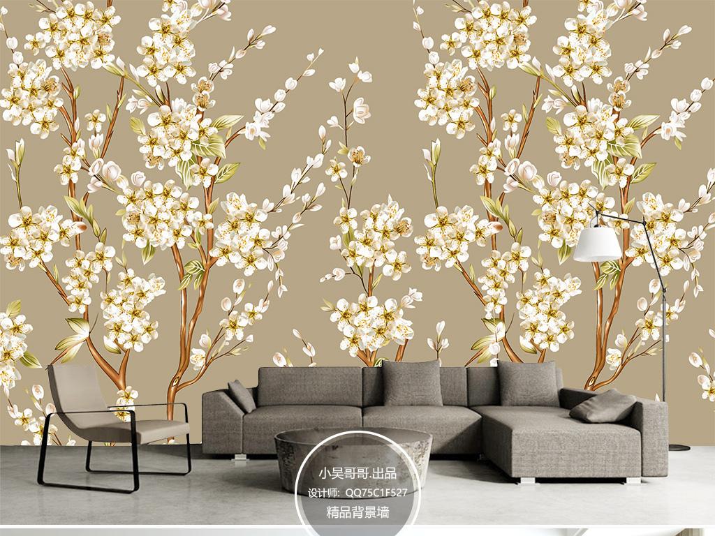 现代简约手绘白色花背景墙壁纸墙纸