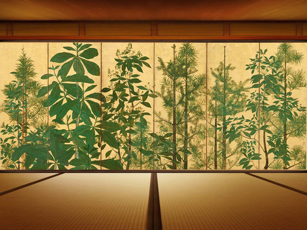 高清浮世绘森林树六曲屏背景墙