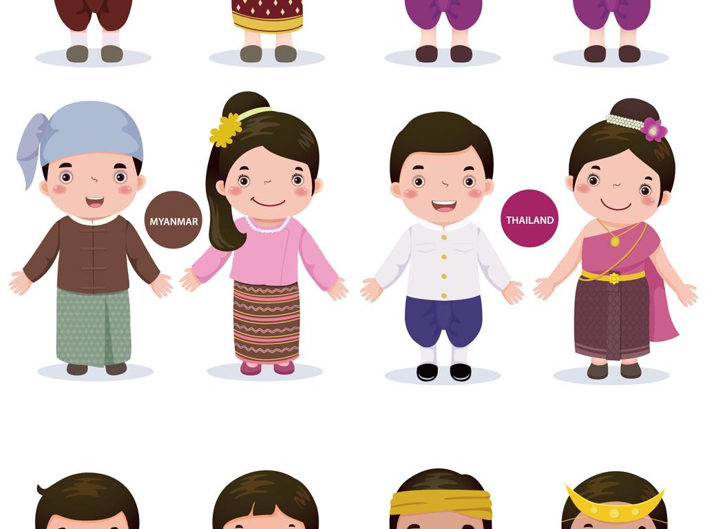 矢量可爱卡通小朋友可爱儿童各国幼儿童素材