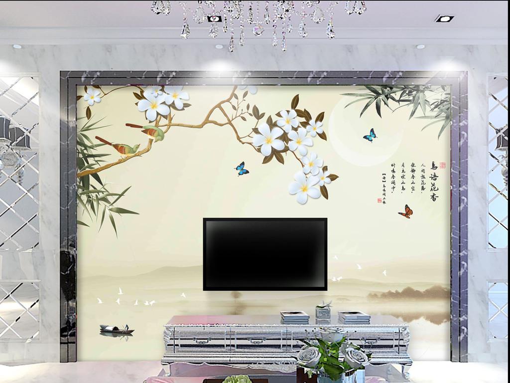 背景墙 电视背景墙 手绘电视背景墙 > 手绘山水花鸟背景墙鸟语花香