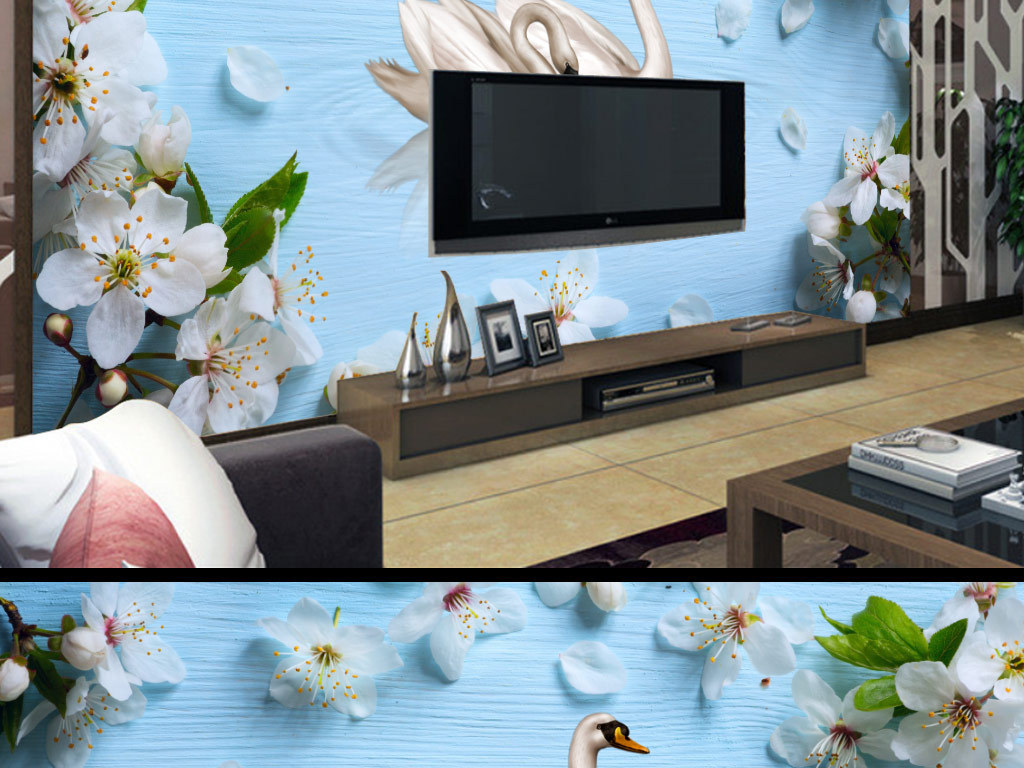 背景墙 电视背景墙 电视背景墙 > 创意梨花天鹅背景墙装饰画  素材