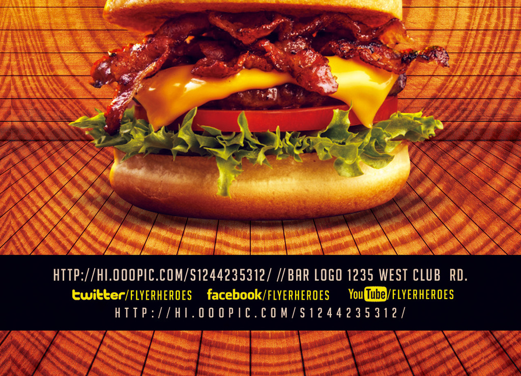 平面|广告设计 海报设计 国外创意海报 > 3款西餐厅快餐店汉堡薄饼图片