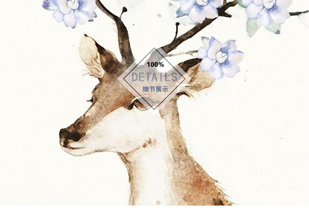 北欧简约手绘花朵麋鹿羽毛装饰画三联无框画