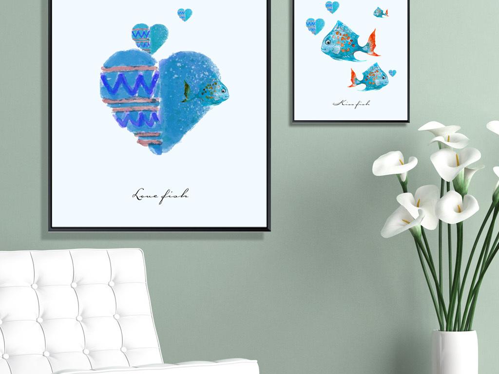 北欧简约手绘爱情鱼接吻鱼装饰画三联画