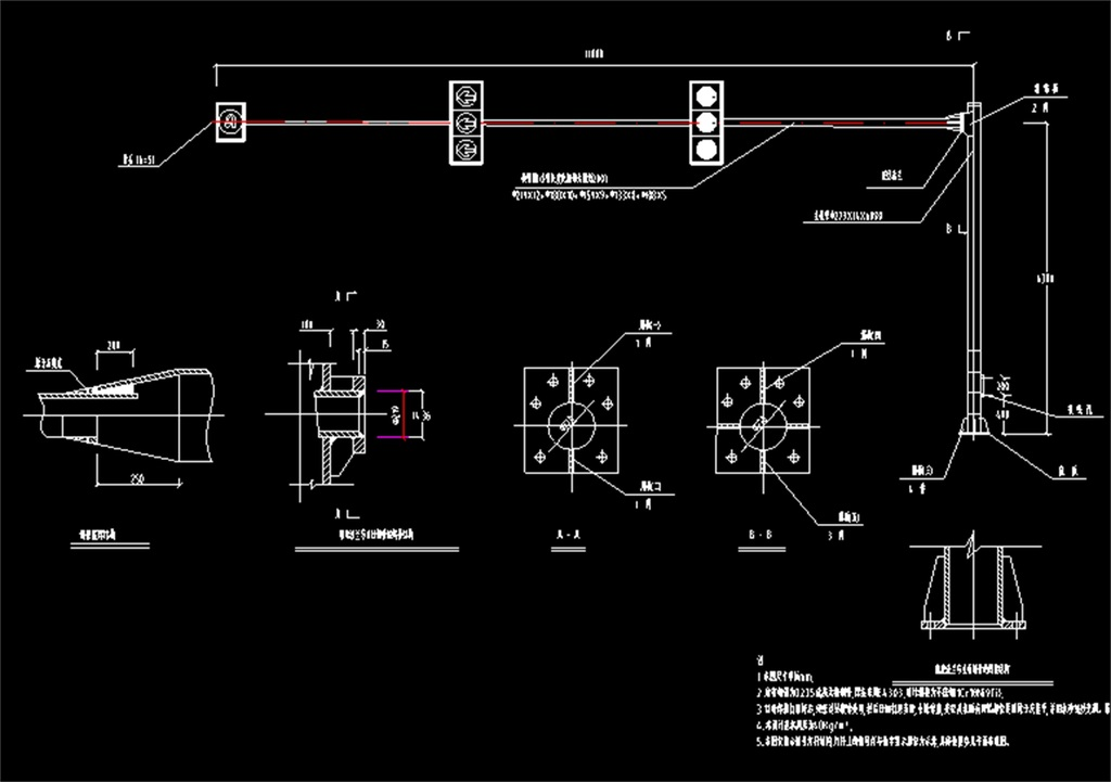交通信号灯cad设计施工图