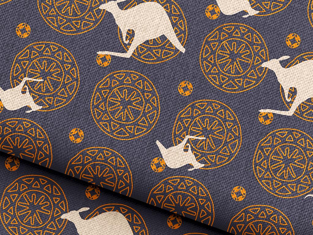 欧式花纹背景图案袋鼠动物