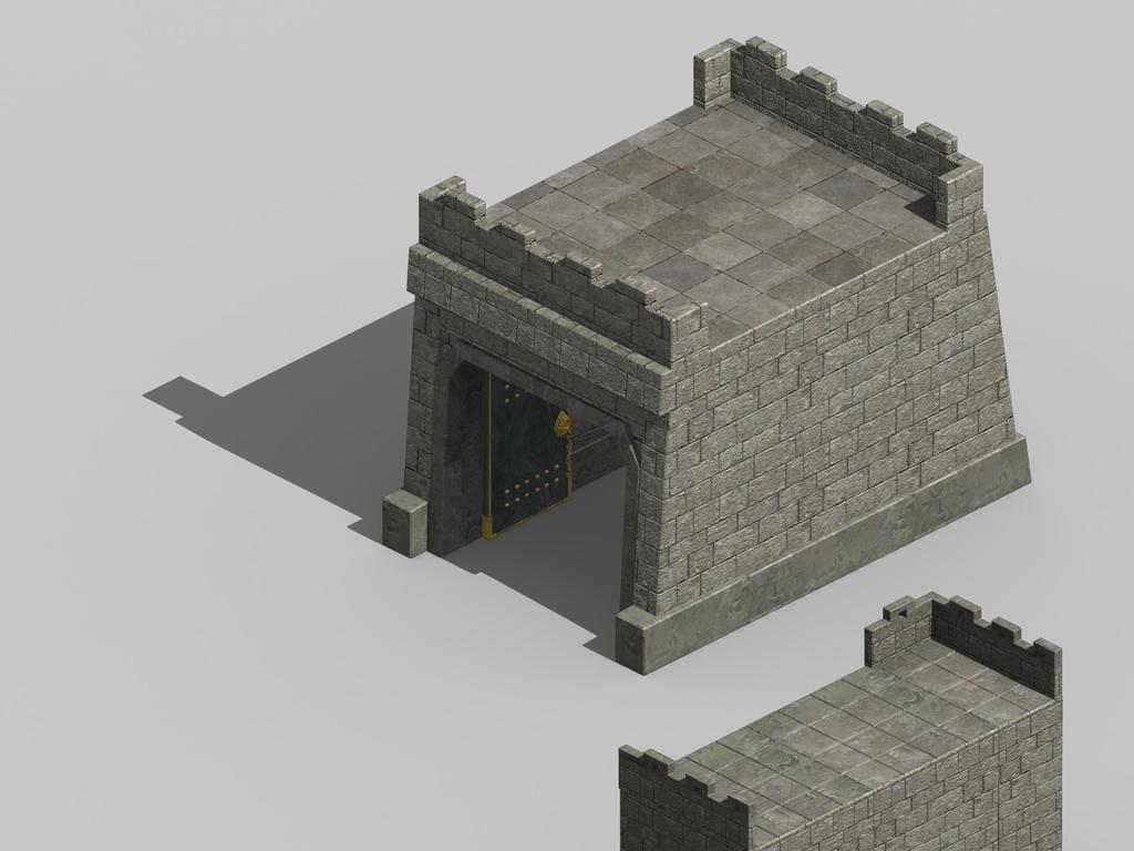 3d中国古代城楼城墙建筑模型