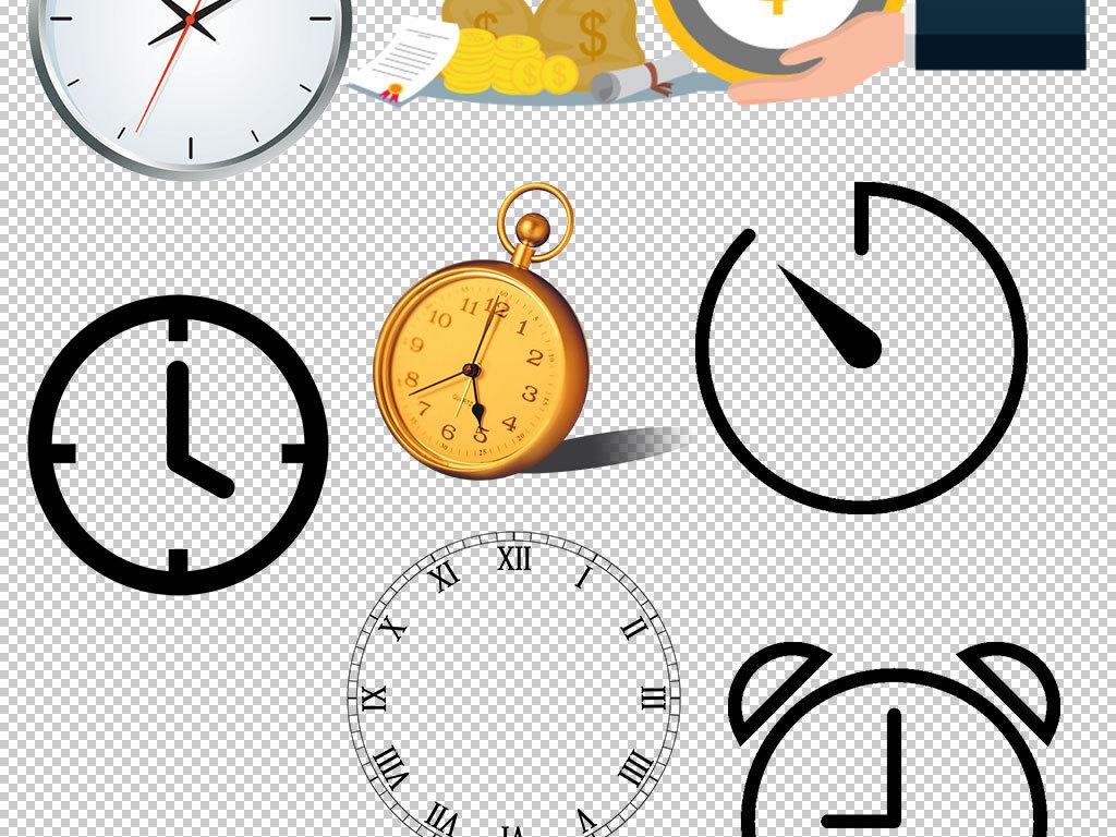 手绘时钟闹钟钟表png设计素材