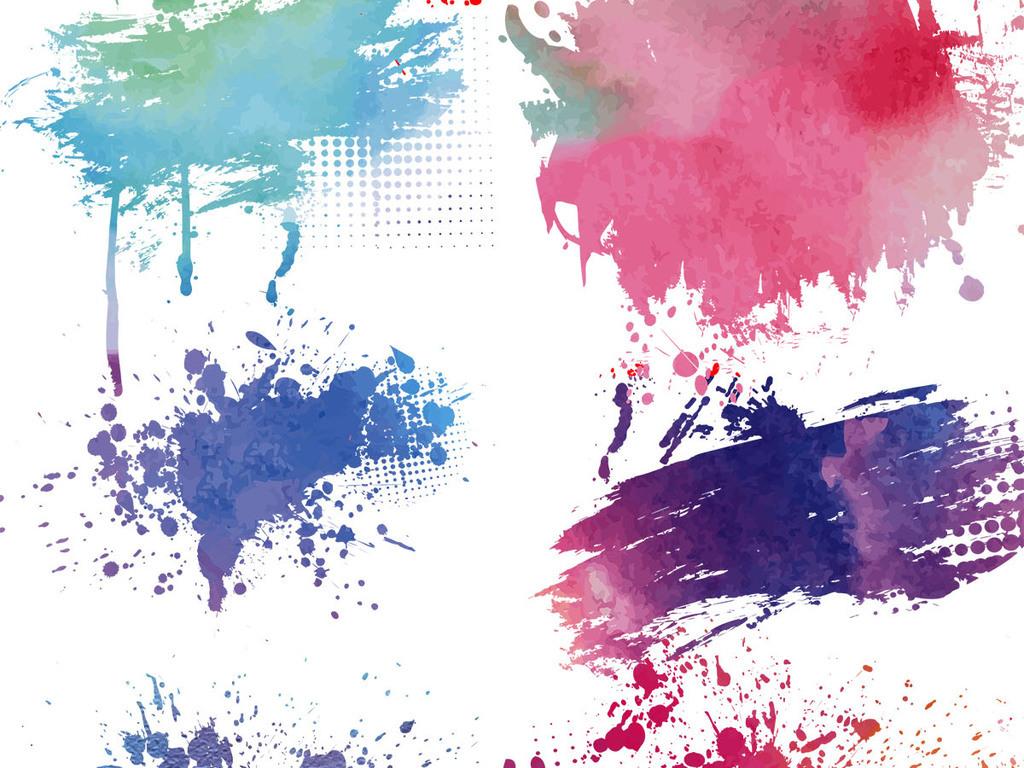 我图网提供独家原创手绘彩色墨迹元素喷溅时尚水彩标签设计素材