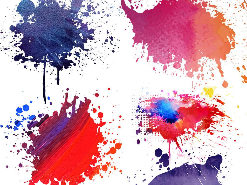 手绘彩色墨迹元素喷溅时尚水彩标签设计