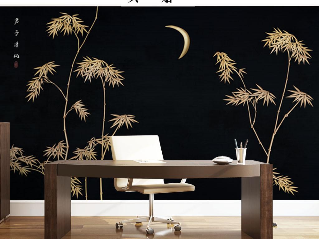 日竹夜竹手绘文雅竹林背景墙