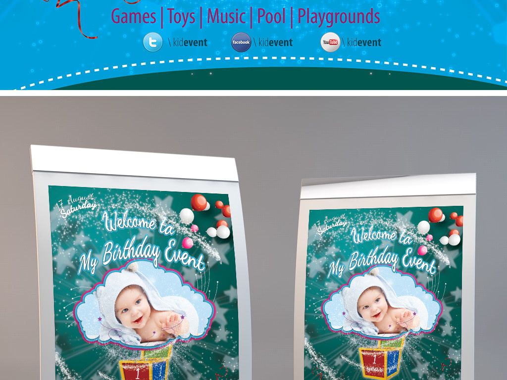 梦幻唯美儿童满月百日生日宴会创意海报图片