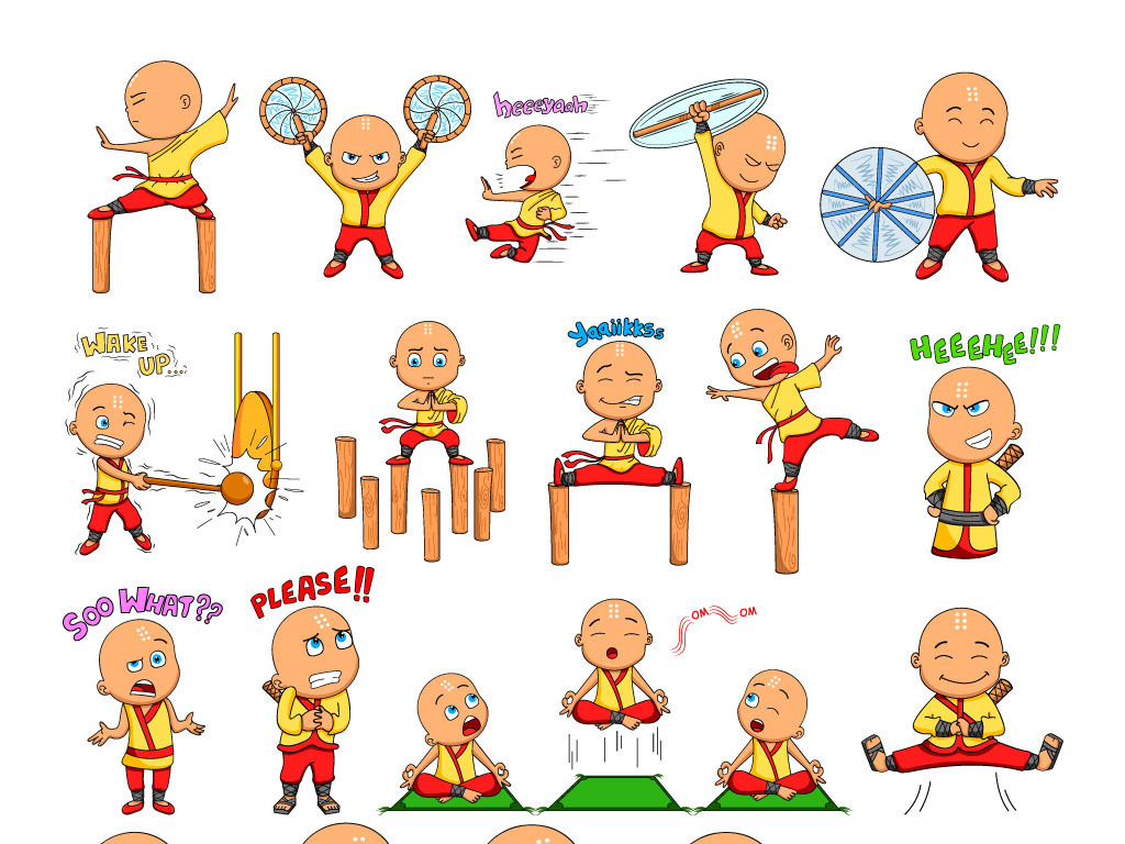 设计元素 人物形象 动漫人物 > 可爱卡通小和尚形象ai矢量图案  版权
