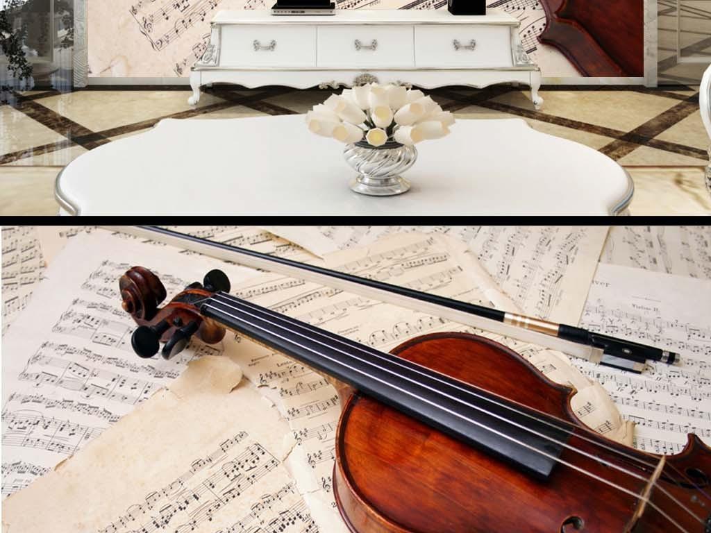 曲谱琴谱小提琴演奏电视客厅背景墙