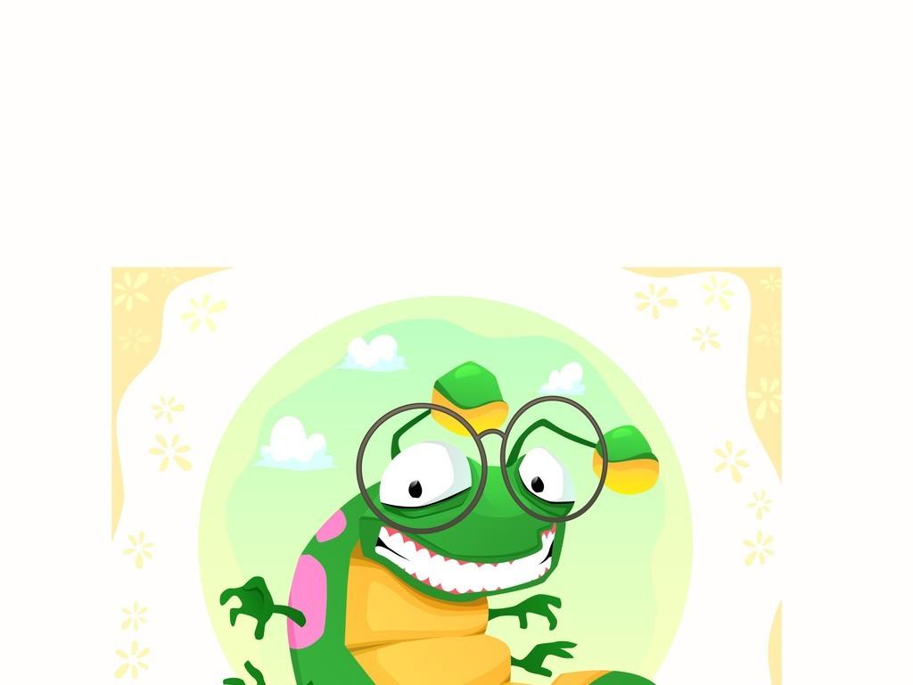 卡通图案虫子场景插画