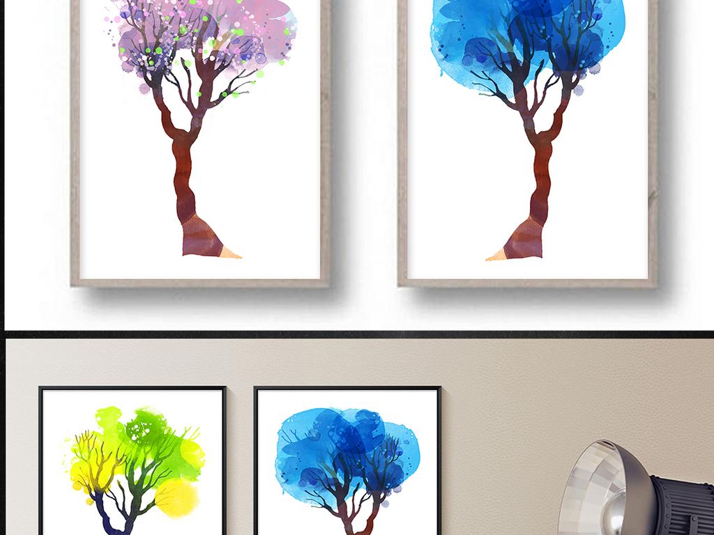 北欧极简小清新水彩手绘树木四联装饰画图片设计素材