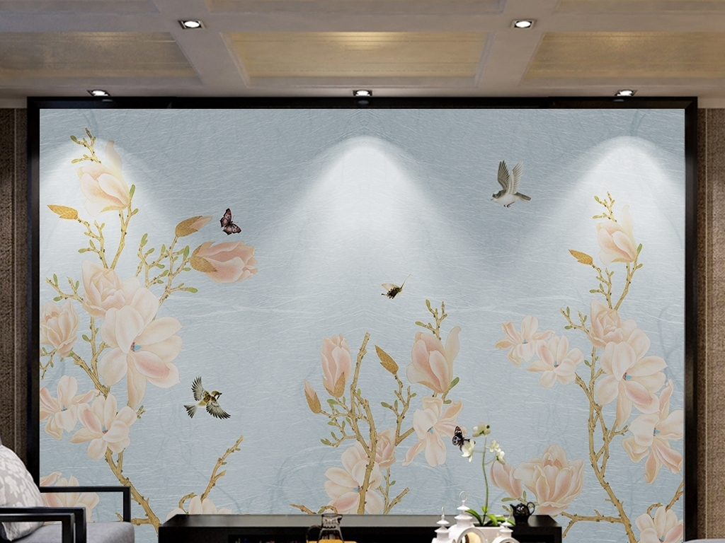 复古手绘玉兰花鸟新中式电视背景墙