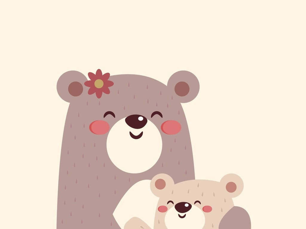 卡通动物小熊手机壳图案设计