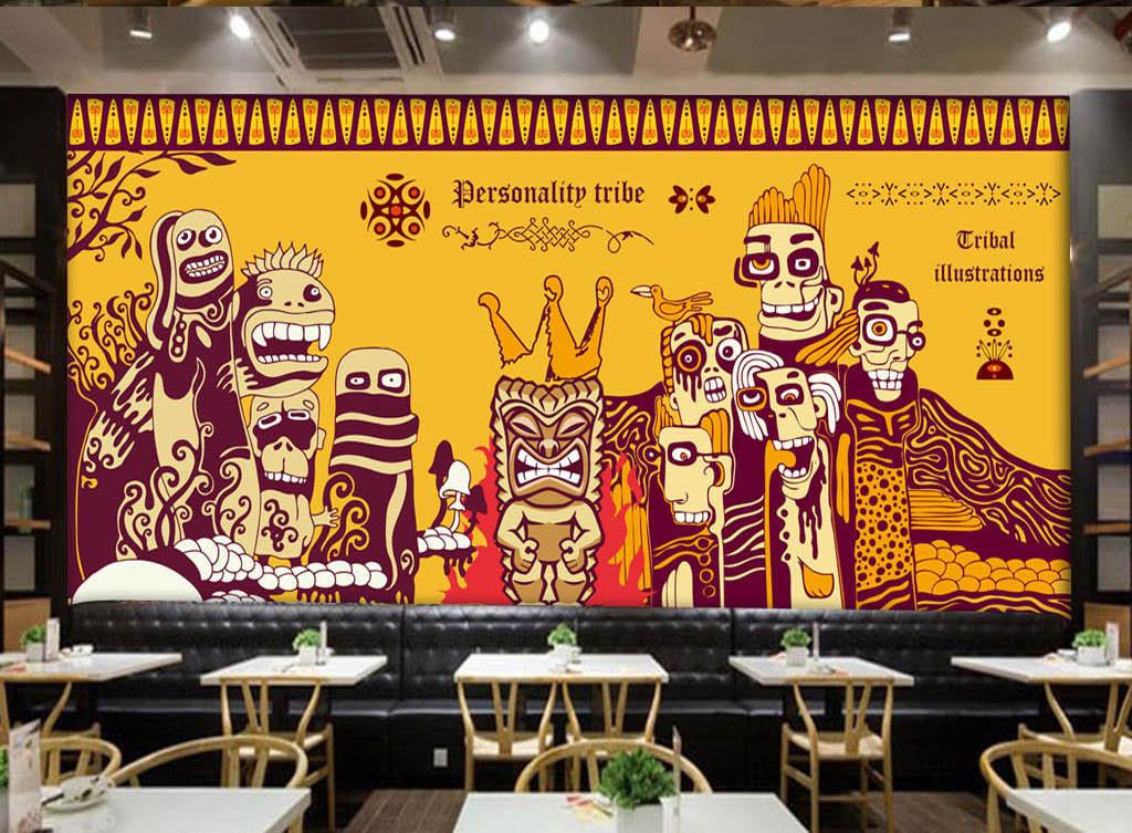 手绘涂鸦印度主题瑜伽馆佛教背景墙