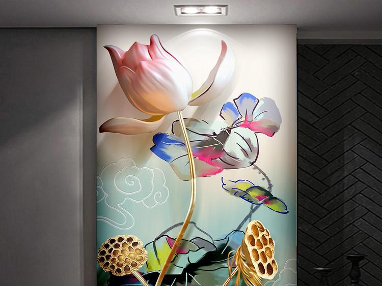 新中式水墨浮雕荷花抽象立体玄关装饰画