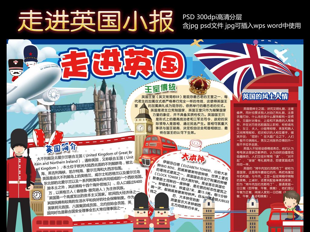 英国小报欧洲地理手抄报电子小报设计