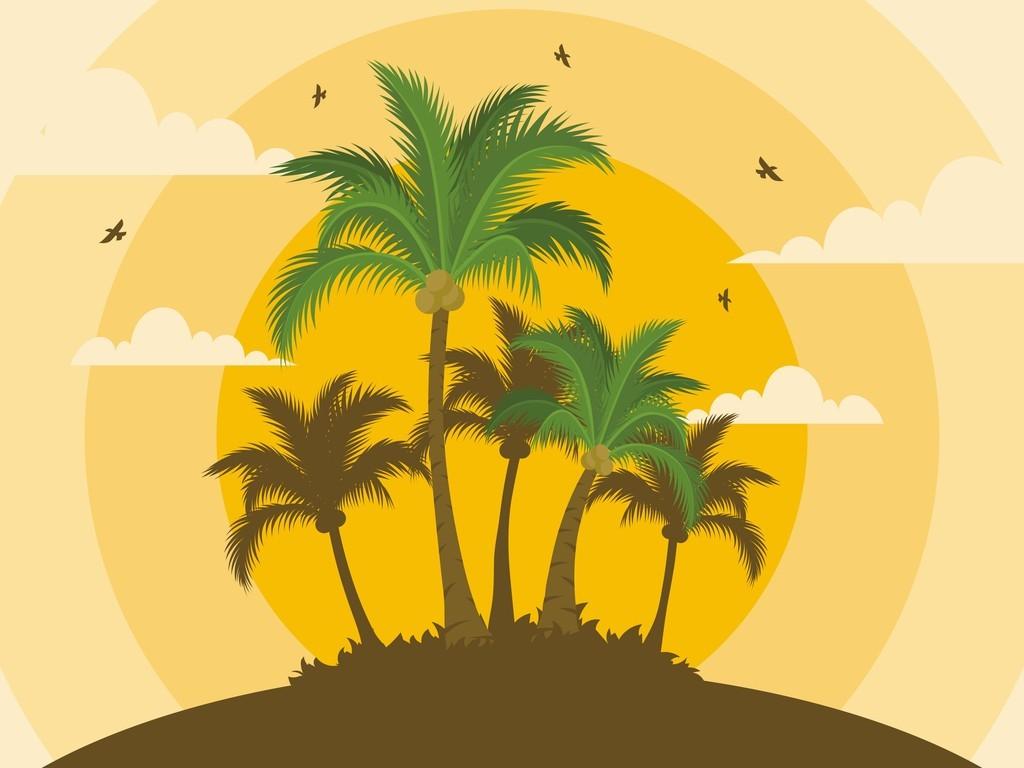 北欧风抱枕图案椰树