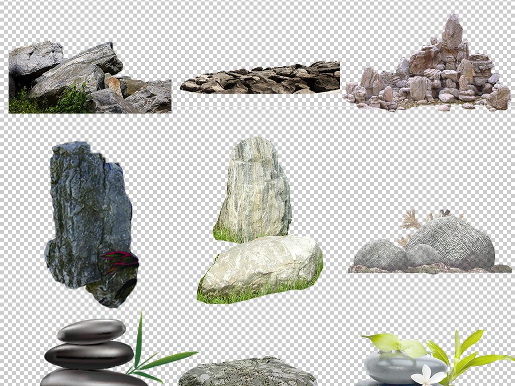 巨石水里的石头石头纹路卡通石头园林假山瀑布流水怪石纹理石块