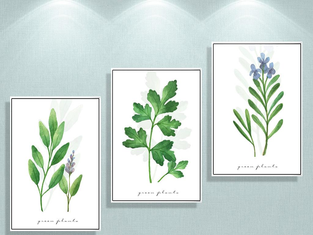 简约手绘绿植花卉装饰画清新无框画